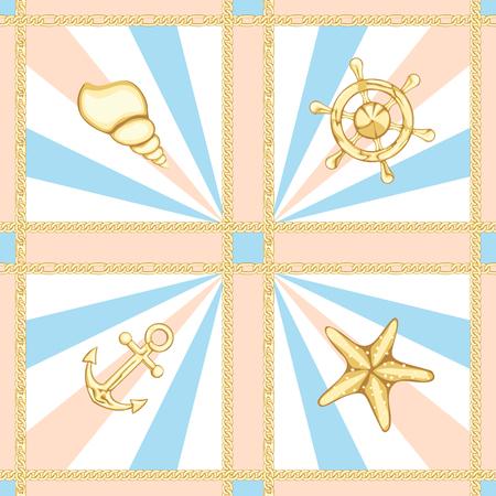Golden Chains Luxury Seamless Pattern with Marine Print.