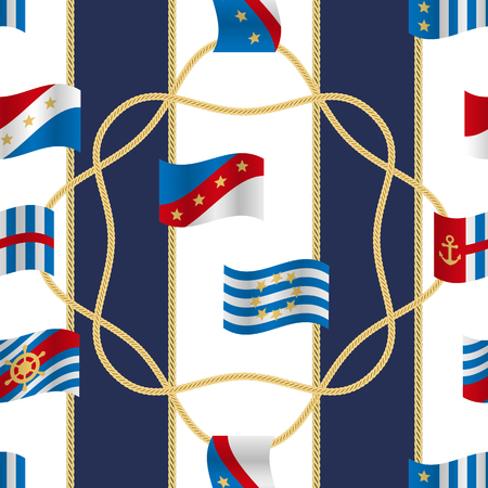 Golden fantasy flags and cords seamless pattern blue and white striped background. Fashion luxury yacht wallpaper with jewelry for classic textile prints, wrapping, silk shawls. Illustration