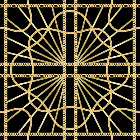 Golden squared chains seamless pattern on black background. Fashion luxury gold and rays background with jewelry for textile prints, wallpapers, wrapping, silk shawls.