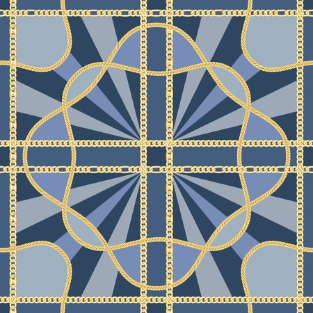 Golden squared chains seamless pattern on blue background. Fashion luxury gold and rays background with jewelry for textile prints, wallpapers, wrapping, silk shawls.  イラスト・ベクター素材