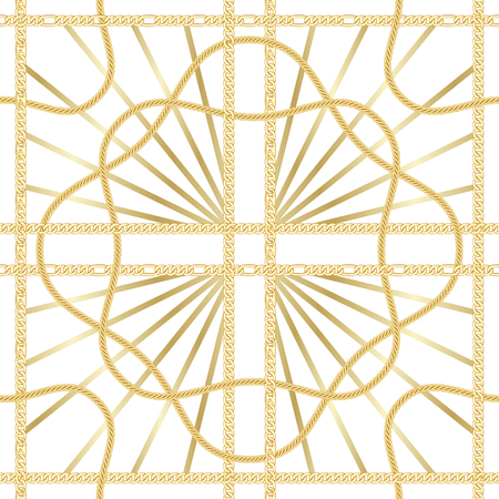 Golden squared chains seamless pattern on white background. Fashion luxury gold and rays background with jewelry for textile prints, wallpapers, wrapping, silk shawls.  イラスト・ベクター素材