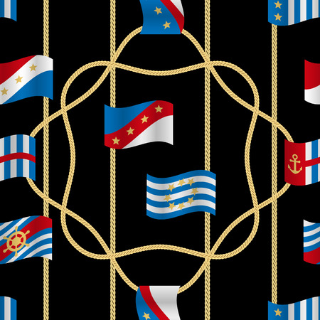 Golden fantasy flags and cords seamless pattern black background. Fashion luxury yacht wallpaper with jewelry for classic textile prints, wrapping, silk shawls.