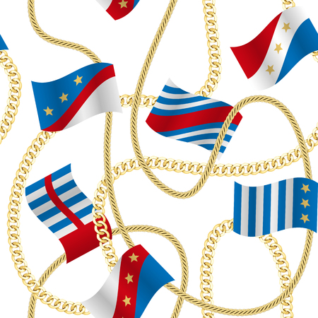 Flags and Chains Vector Fashion Seamless Pattern