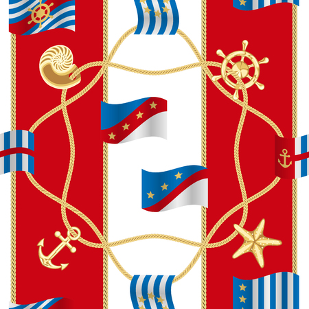 Golden Marine Symbols and Flags Luxury Seamless Pattern
