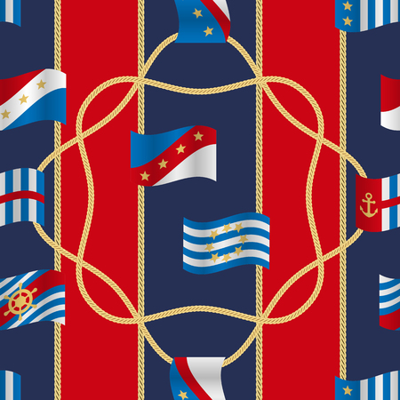 Golden fantasy flags and cords seamless pattern blue and red striped background. Fashion luxury yacht wallpaper with jewelry for classic textile prints, wrapping, silk shawls.