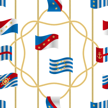 Flags and Cords Vector Fashion Seamless Pattern