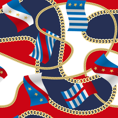 Golden fantasy flags and chains seamless pattern red, blue, white background. Fashion luxury wallpaper with jewelry for classic textile prints, wrapping, silk shawls.