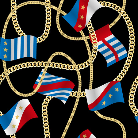 Golden fantasy flags and chains seamless pattern black background. Fashion luxury wallpaper with jewelry for classic textile prints, wrapping, silk shawls.