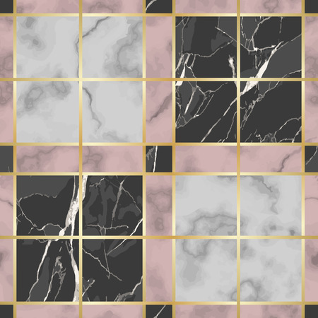 Vector white, pink and black check marble seamless pattern. Repeat marbling surface with gold decorative elements, modern luxurious chessboard background, luxury wallpaper, textile print and tile. Ilustrace