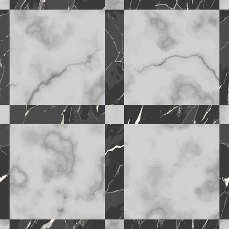 Vector white and black check marble seamless pattern. Repeat marbling surface, modern luxurious chessboard background, luxury wallpaper, textile print and tile. 版權商用圖片 - 122553151