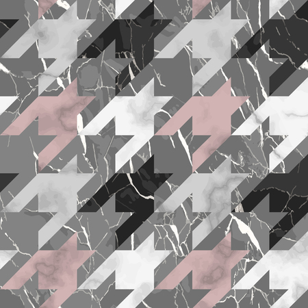Vector white, pink, gray and black houndstooth marble seamless pattern. Repeat marbling surface, modern luxurious chessboard background, luxury wallpaper, textile print and tile.