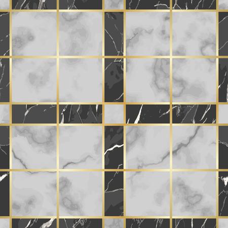 Modèle sans couture de marbre de contrôle blanc et noir de vecteur. Répétez la surface marbrée avec des éléments décoratifs dorés, un fond d'échiquier luxueux et moderne, un papier peint de luxe, un imprimé textile et des carreaux.