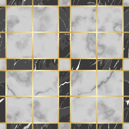 Vector white and black check marble seamless pattern. Repeat marbling surface with gold decorative elements, modern luxurious chessboard background, luxury wallpaper, textile print and tile. Vettoriali