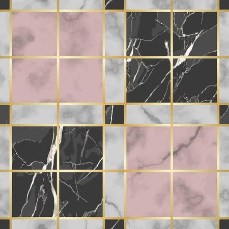 Modèle sans couture de marbre blanc, rose et noir de vecteur de contrôle. Répétez la surface marbrée avec des éléments décoratifs dorés, un fond d'échiquier luxueux et moderne, un papier peint de luxe, un imprimé textile et des carreaux.