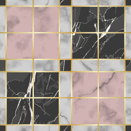Vector white, pink and black check marble seamless pattern. Repeat marbling surface with gold decorative elements, modern luxurious chessboard background, luxury wallpaper, textile print and tile. Illustration