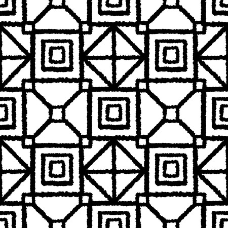 Ethnic black and white check seamless pattern. Boho abstract geometric repeat textile print isolated on white background. Folk fashion tie dye hand made effect wallpaper.
