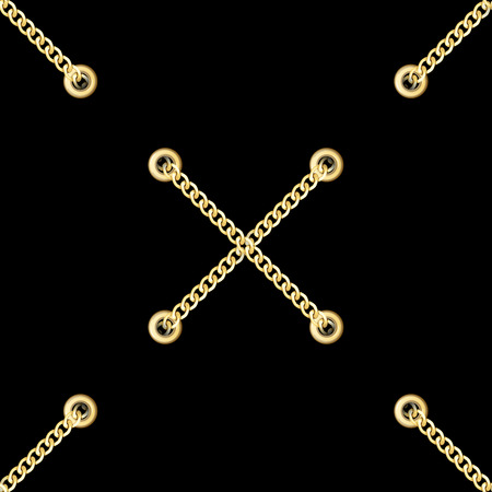 Golden Cross Chains with Metal Eyelets Seamless Pattern. Illustration