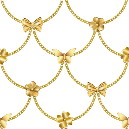 Seamless pattern with gold chain and pendants. Jewelry repeat wallpaper for textile prints, wrapping, luxury backgrounds, greeting cards.