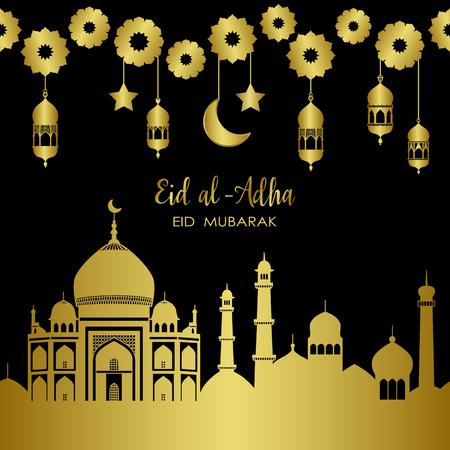 Eid al-Adha Golden Town Holiday Vector Template 일러스트