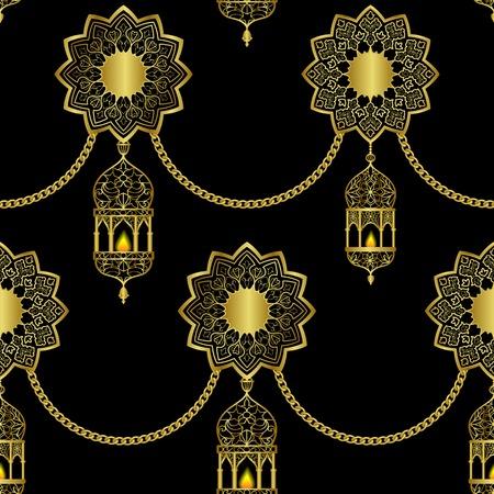 Arabic golden luxury seamless pattern on black background Vectores