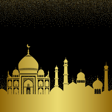 Abstract gold arab city seamless pattern with mosques Illustration
