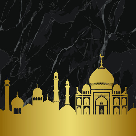 Abstract gold and marble arab city seamless pattern with mosques