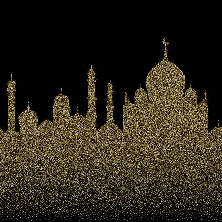 Abstract gold glitter arab city seamless pattern