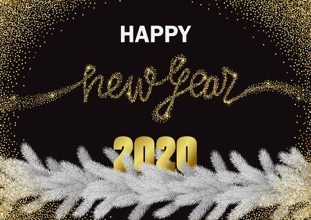 Happy New Year 2020 Glitter and Christmas tree Greeting Banner