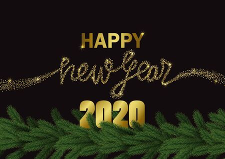 Happy New Year 2020 golden glitter greeting web banner on black background. Winter template with green fir for invitation, Christmas greeting cards, party invites, covers and posters. Illustration