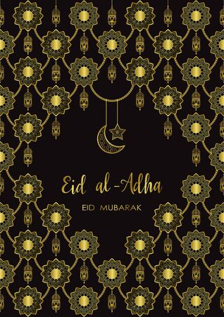 Eid al Adha luxury template, mubarak pattern with arabic golden lantern, gold half moon and star. Vector illustration of greeting cards, covers, prints, templates with text place.