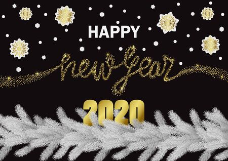 Happy New Year 2020 golden glitter greeting web banner on black background. Winter template with white fir and snowflake for invitation, Christmas greeting cards, party invites, covers and posters.