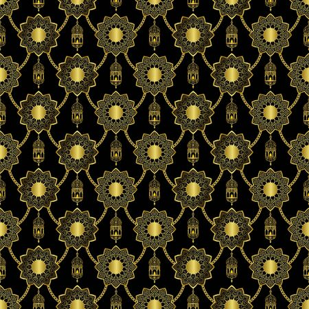 Arabic golden lantern and stars seamless pattern on black background. Vector luxury repeat wallpaper for textile print, backgrop, cover and web banners. Reklamní fotografie