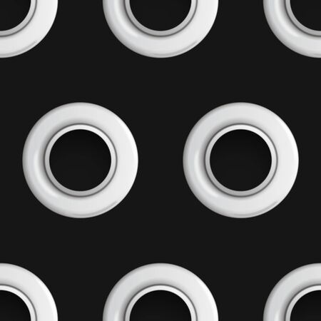 Silver eyelet seamless pattern isolated on black background. Metal polka dot with hole imitation. Vector repaet wallpaper with silver rings, fashion textile print, abstract geometric backdrop.