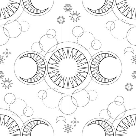 Seamless pattern from triple moon magic and astronomy tattoo symbol