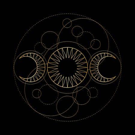 Triple moon magic and astronomy vecor symbol