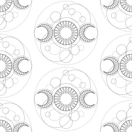 Seanless pattern from Triple Moon magic tattoo symbol. Repeat background with astronomy, astrology and alchemy coloring page, wallpaper. Çizim