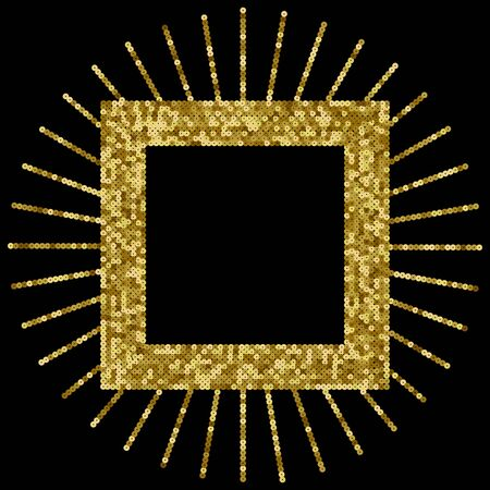 Gold Sequins Vector Luxury Squared Frame. Holiday Background