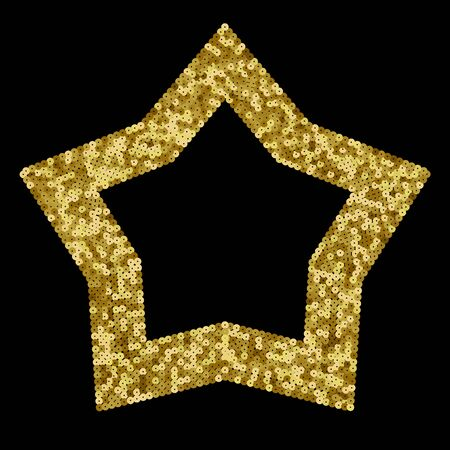 Gold Sequins Vector Luxury Star Frame. Holiday Background