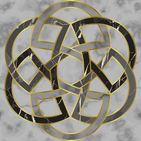 Marmeren mozaïek naadloze patronen met rond medaillon Vector Illustratie