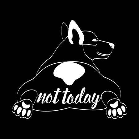 Not Today t-shirt print wiht lying Corgi dog