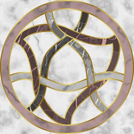 Marble Mosaic Seamless Patterns with Round Medallion Stock Illustratie