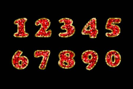 Sequin Red and Gold Vector Numbers. Part 5