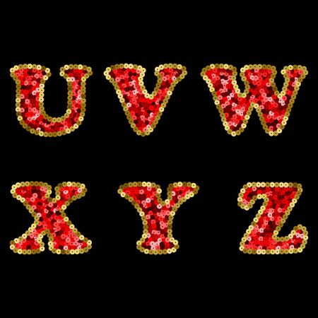 Sequin Red and Gold Vector Alphabet. Part 4 向量圖像