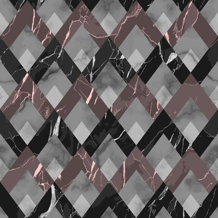 Vector marble seamless pattern. White, gray, black, pink rhombus marbling surface, textile and interior print, modern luxurious repeat background, luxury art deco wallpaper in gatsby stile.