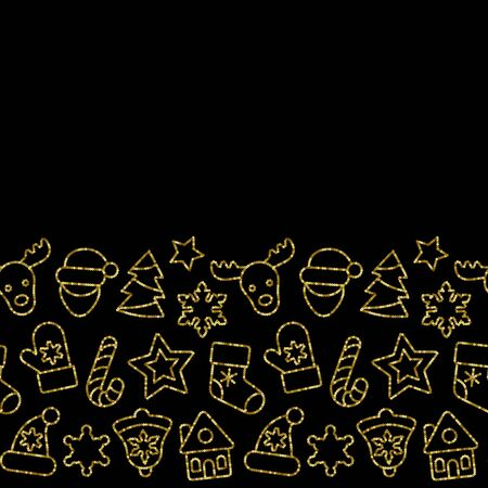 Christmas Toys Seamless Border from Gold Outline Sequins