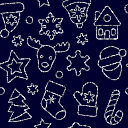 Christmas Toys Seamless Pattern from Gold Outline Sequins