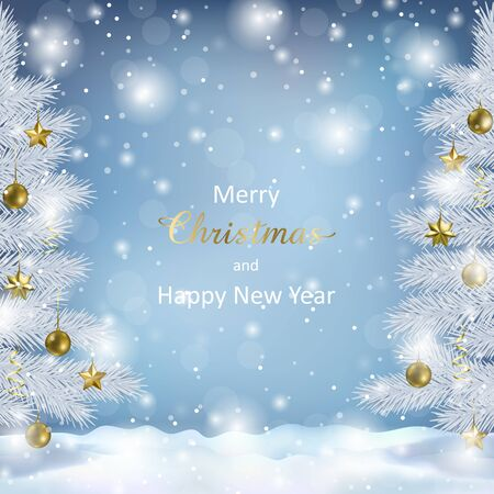 Merry Christmas, Happy New Year greeting card with Christmas tree and bokeh effect on blue background. Landscape template with fir for winter holiday cards, posters, covers with text place