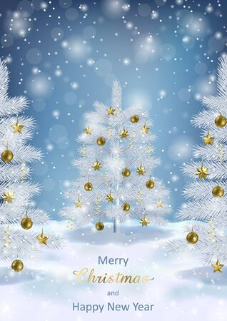 Merry Christmas, Happy New Year greeting card with Christmas tree and bokeh effect on blue background. Landscape template with fir for winter holiday cards, posters, covers with text place Zdjęcie Seryjne - 133359168