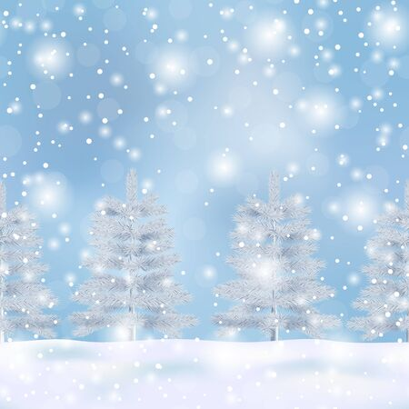 Winter nature vector seamless border with Christmas tree and bokeh effect on blue background. Landscape repeat template with fir for winter holiday cards, posters, web banners, covers with text place. Standard-Bild - 133359175