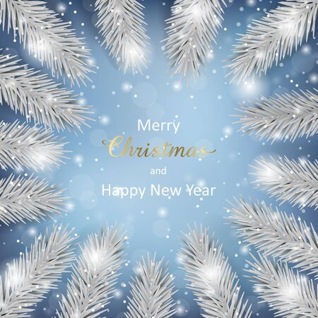 Merry Christmas, Happy New Year greeting card template with Christmas tree and bokeh effect on blue background. Luxury mock up with white fir for winter holiday cards, posters, covers with text place Zdjęcie Seryjne - 133359166